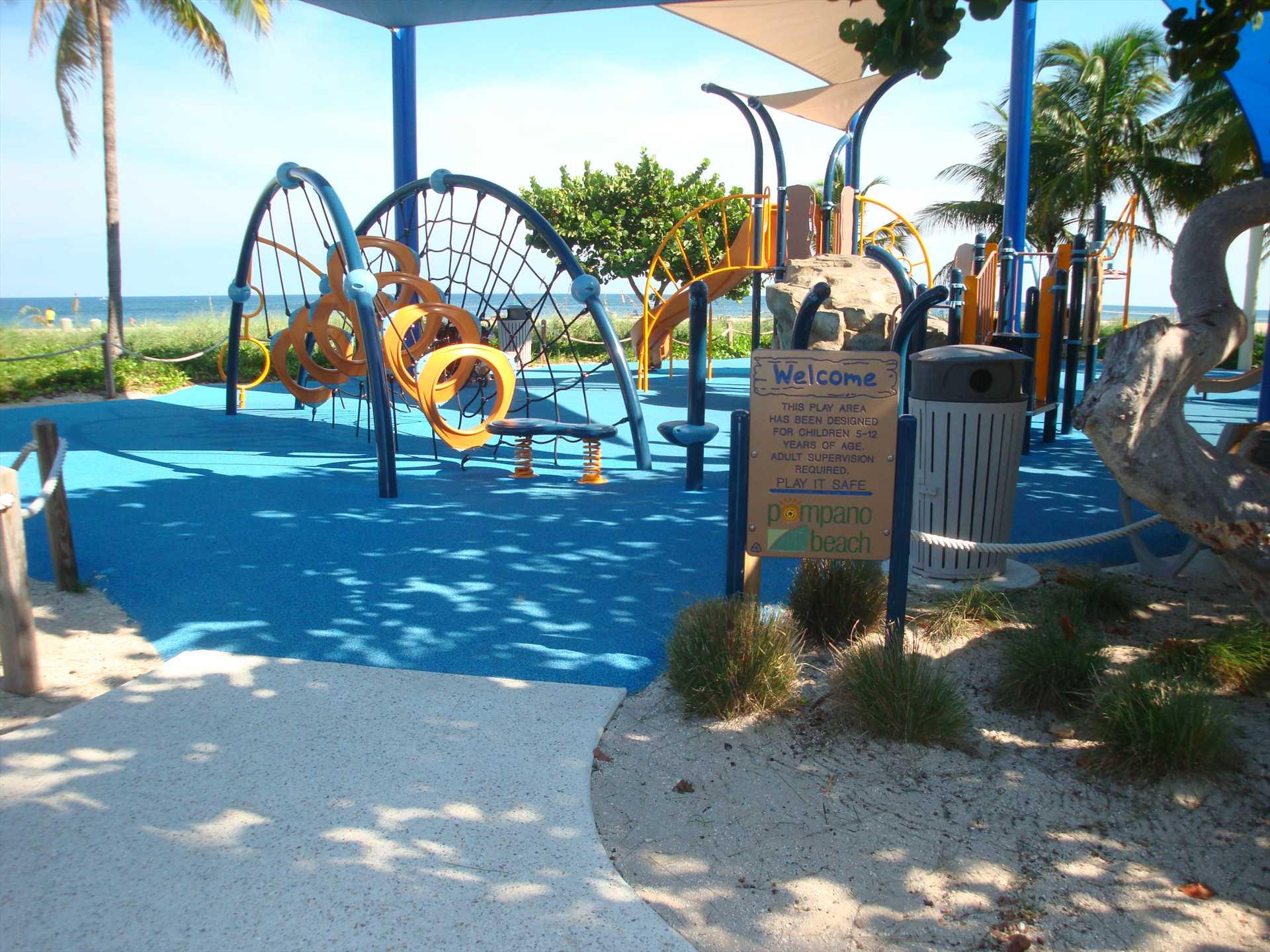 The kids will enjoy the beachfront playground.