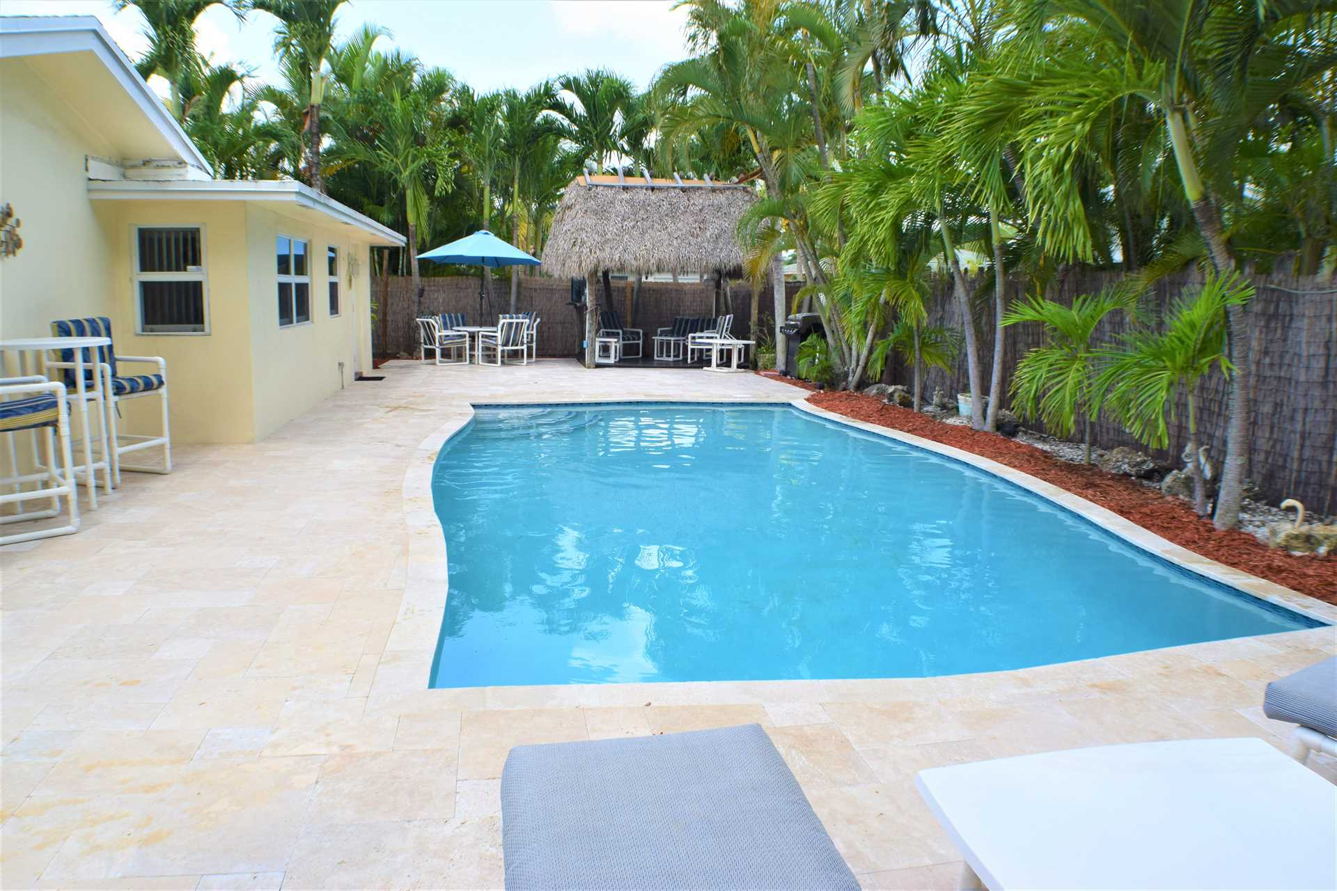 Heated pool is ready for family fun.