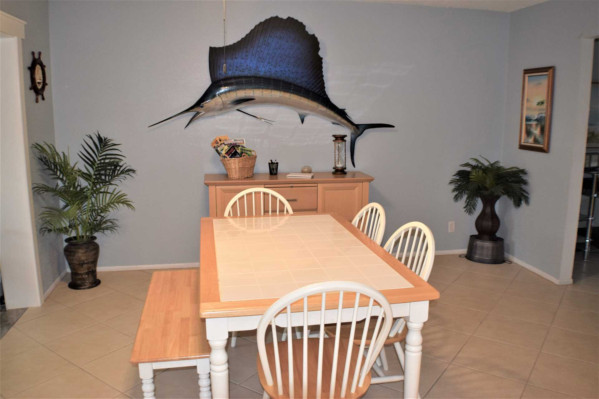 Casual dining area, seating for six.(and that's a troph