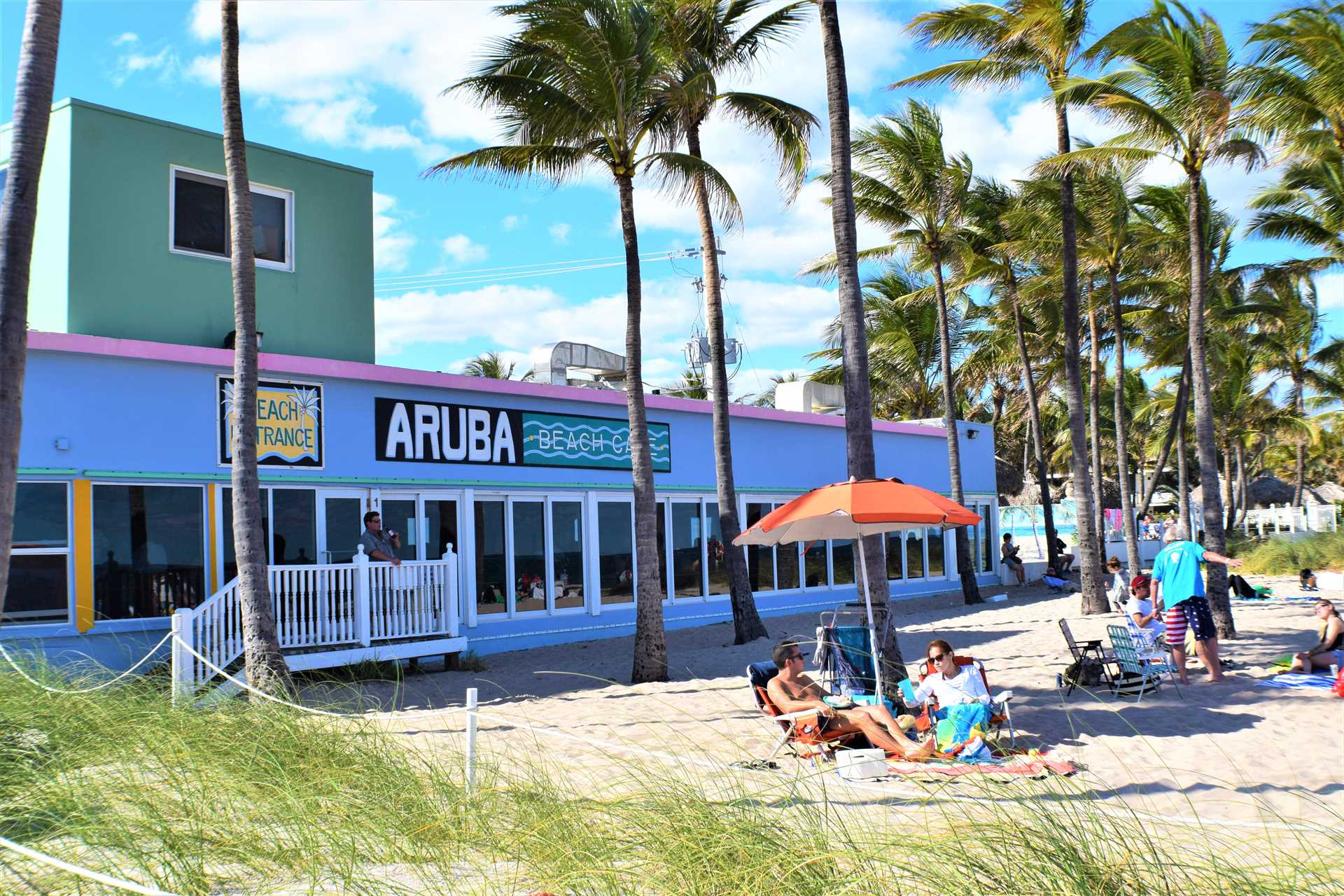 The world famous Aruba Cafe is right on the beach.