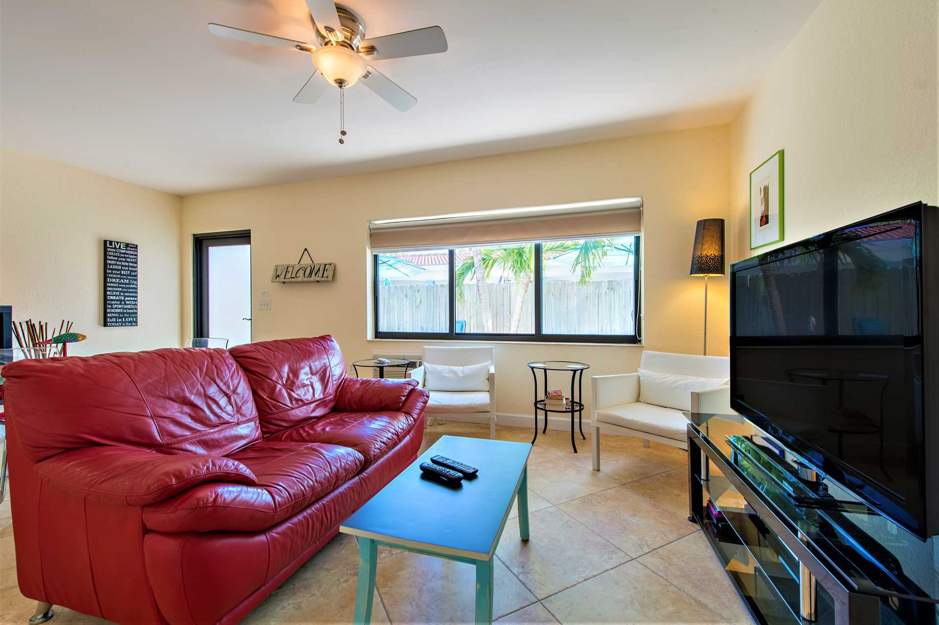 Comfortable seating for four and HDTV with DVD.