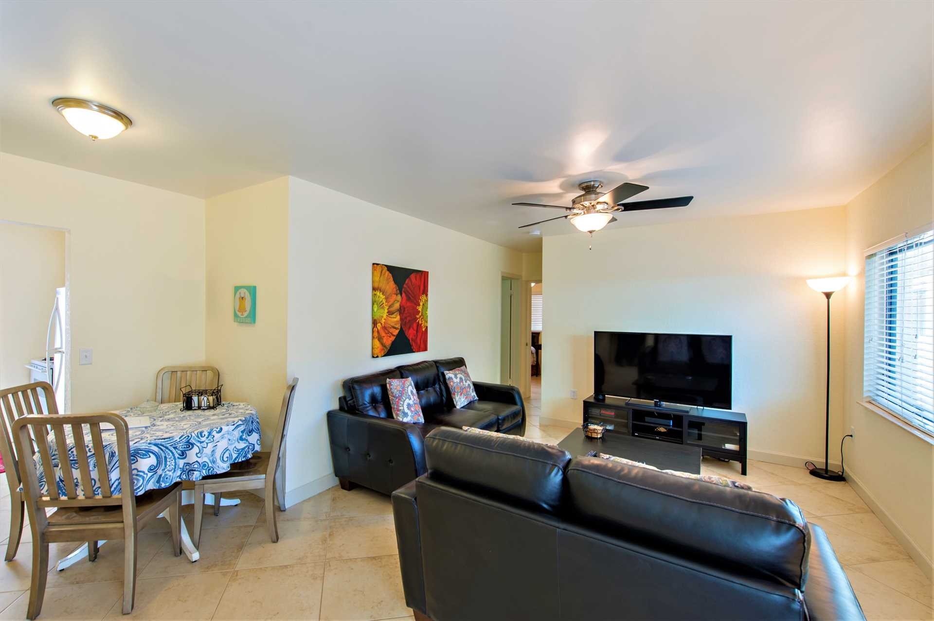 Great room also has dinette or dine in the courtyard.