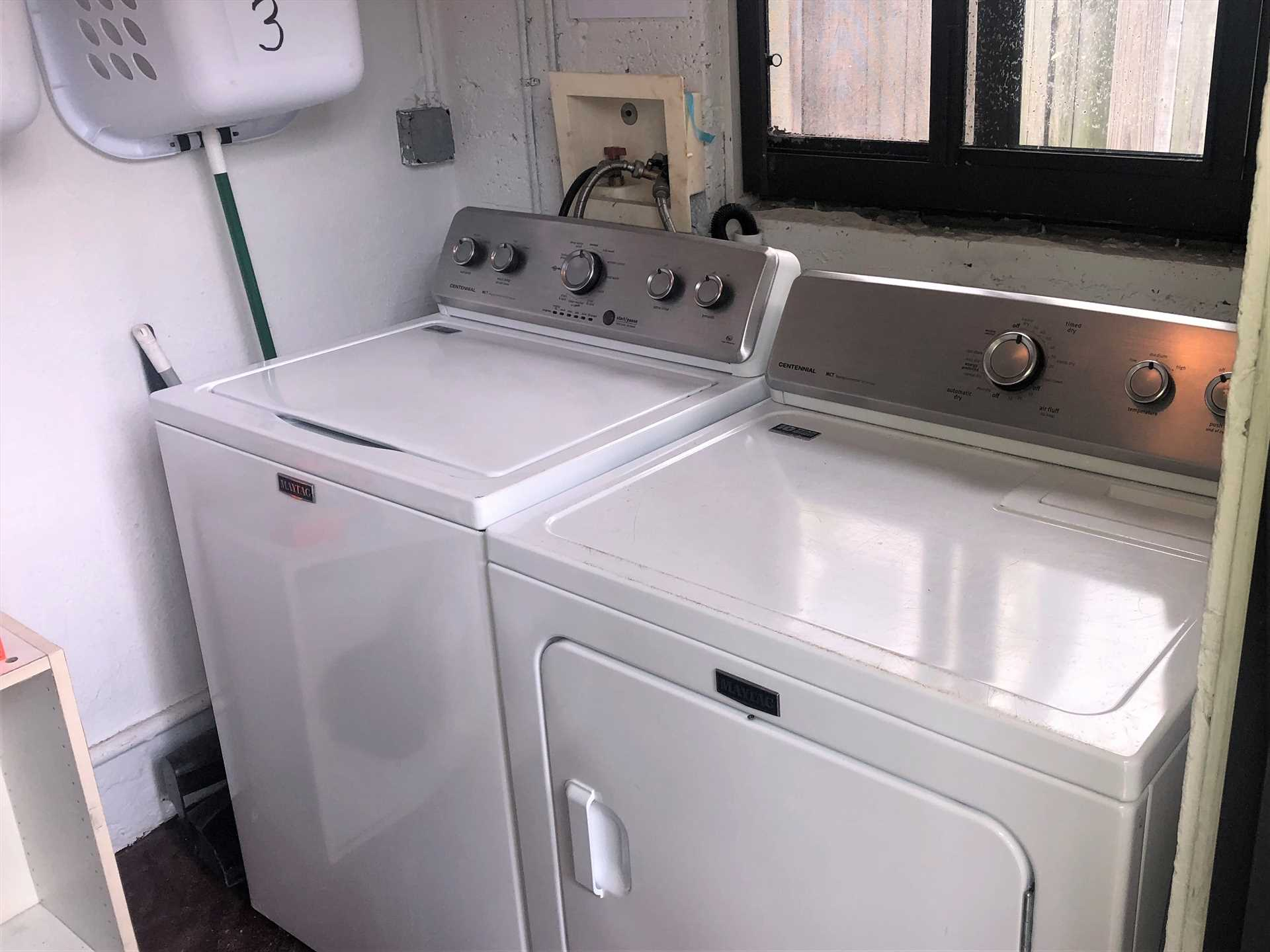 Washer and dryer for your use are located within the bulidin