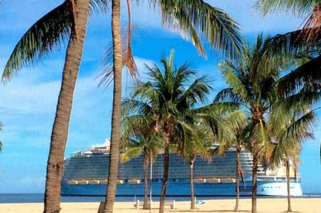 Watch cruise ships depart as you work on your tan.
