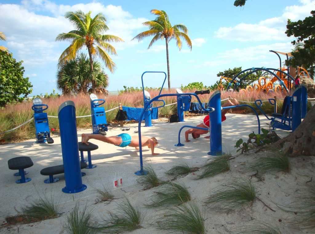 There is even an outdoor gym for the exercise buff.