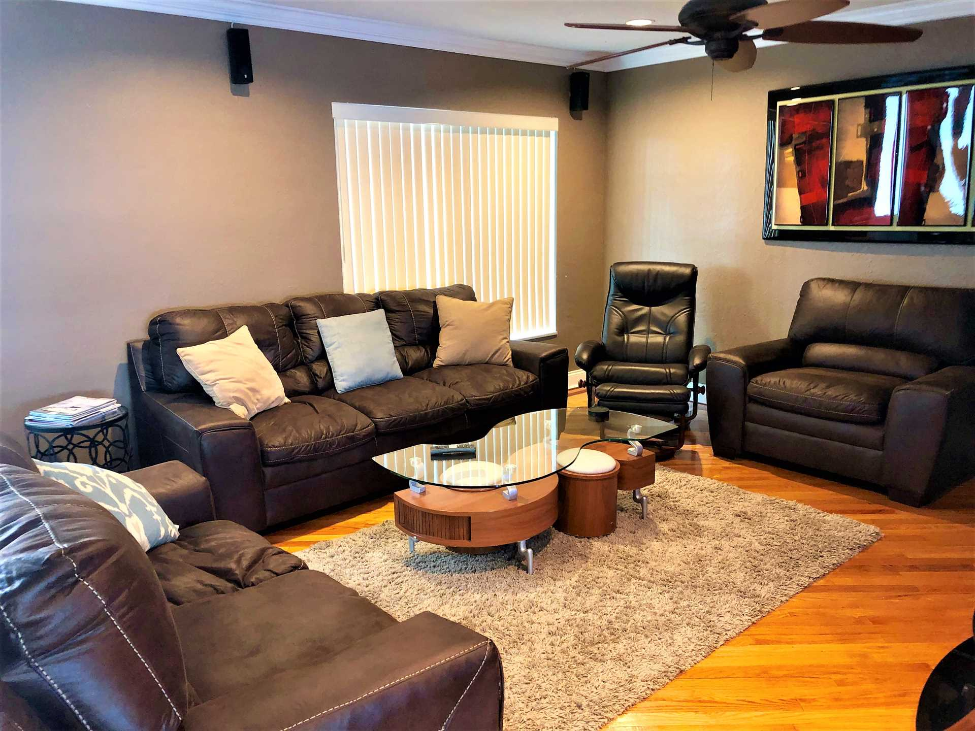 Living/family room has brand new furniture.