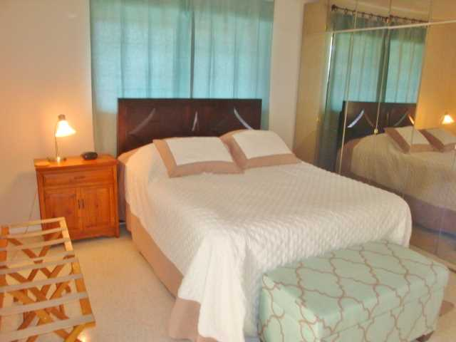 Master bedroom has queen size bed, private bath and lots of