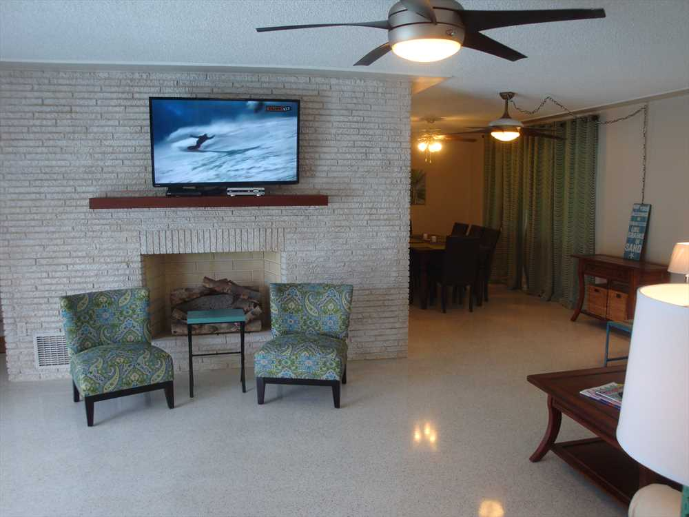 Living area has 50 inch HDTV with DVD and secure WIFI.