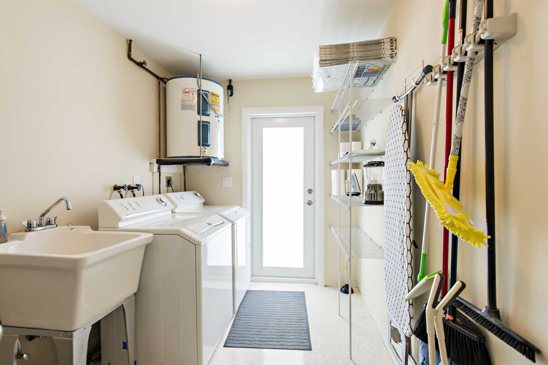 Utility room has new washer and dryer for your use.