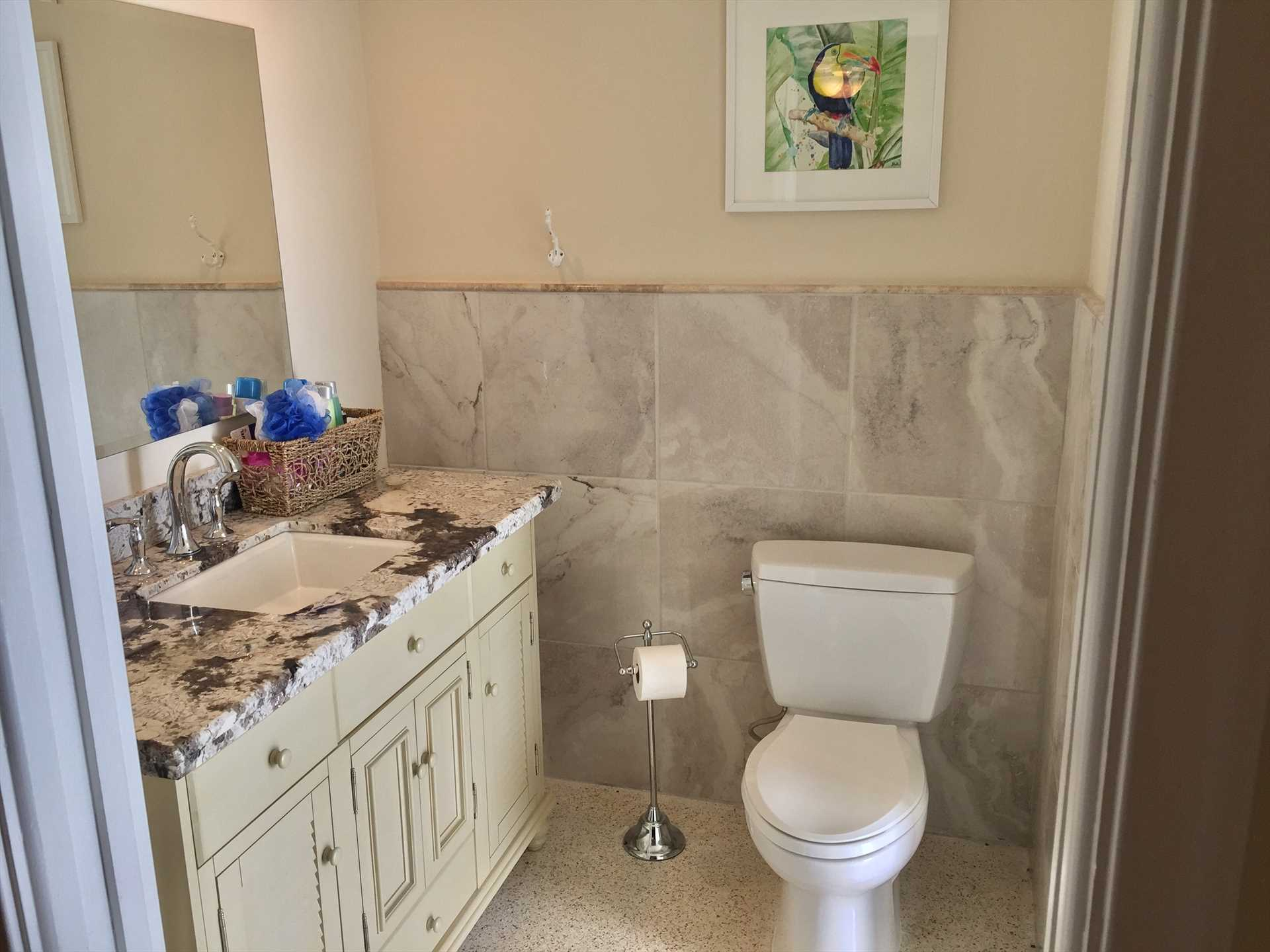 Master bath has large sink with granite counter top.