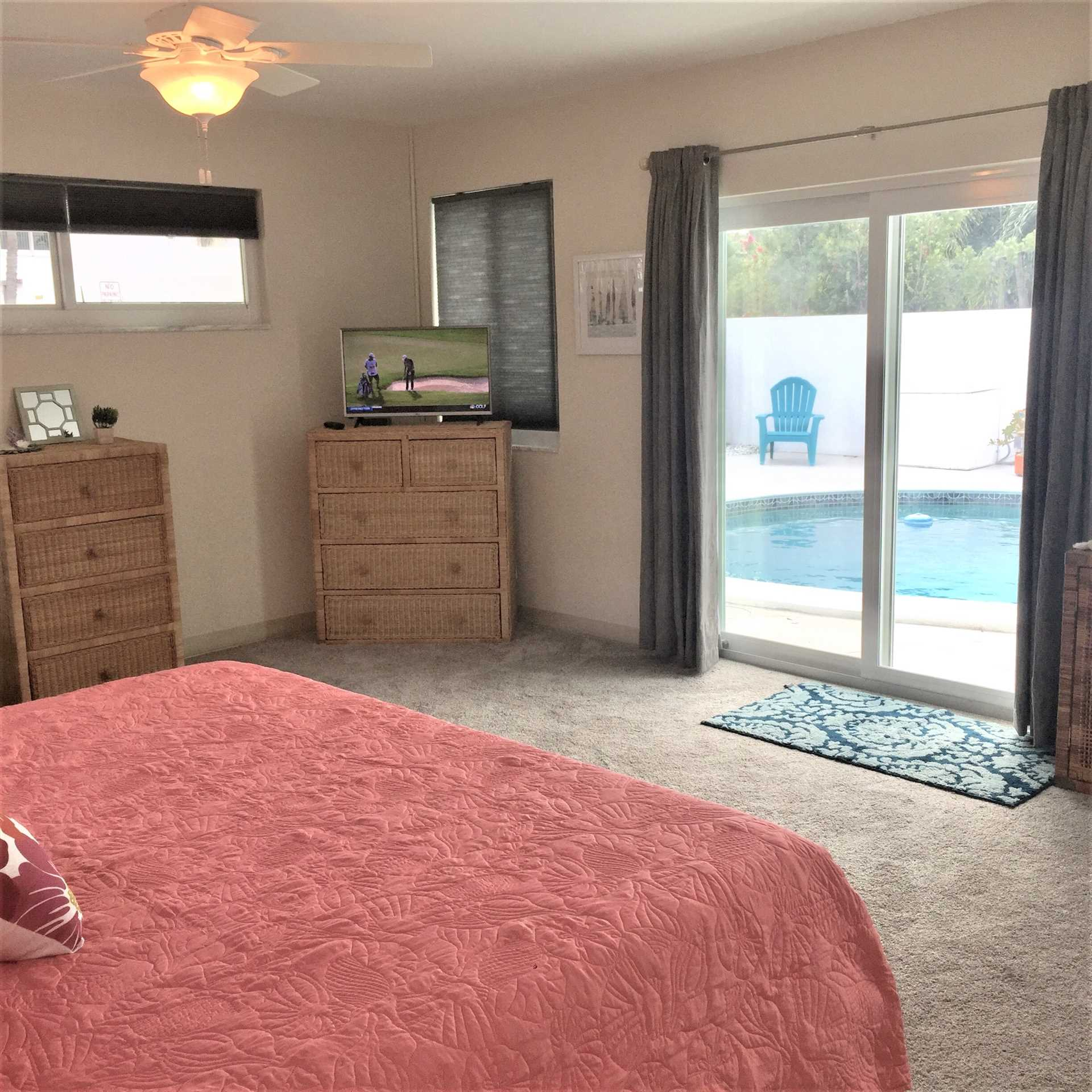 Third bedroom has HDTV and opens to the pool deck.