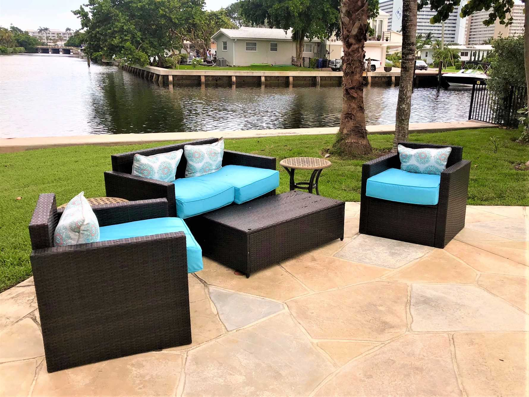 Relax on the deck furniture while enjoying your favorite bev