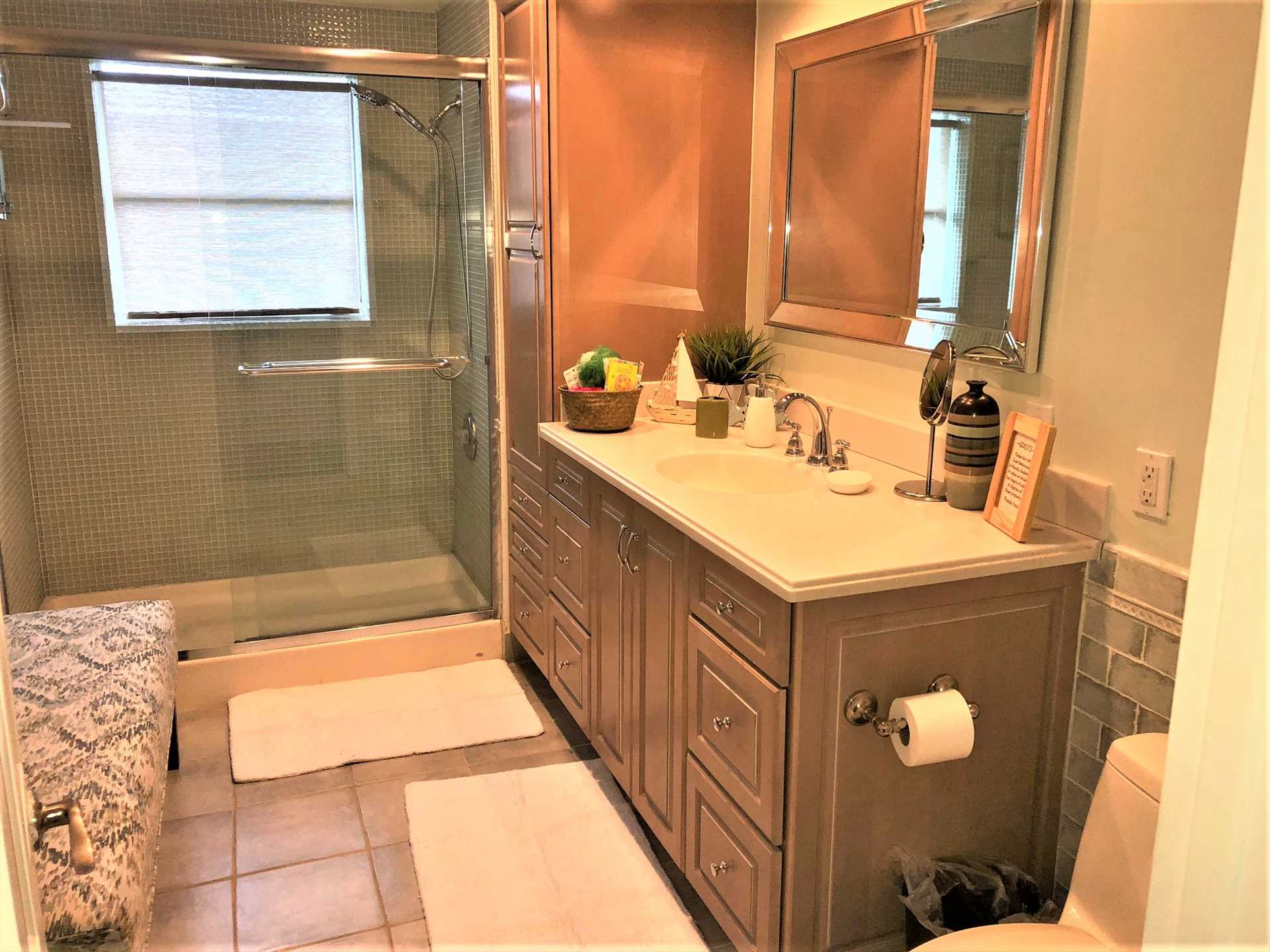 Main bathroom has walk in shower.