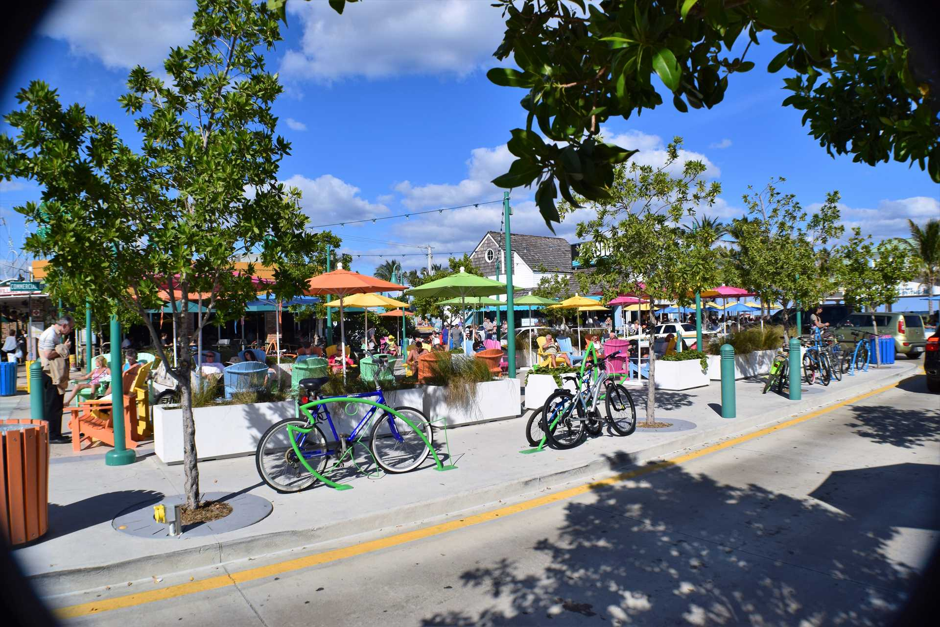 Your walk to the beach is filled with colorful shops and sig