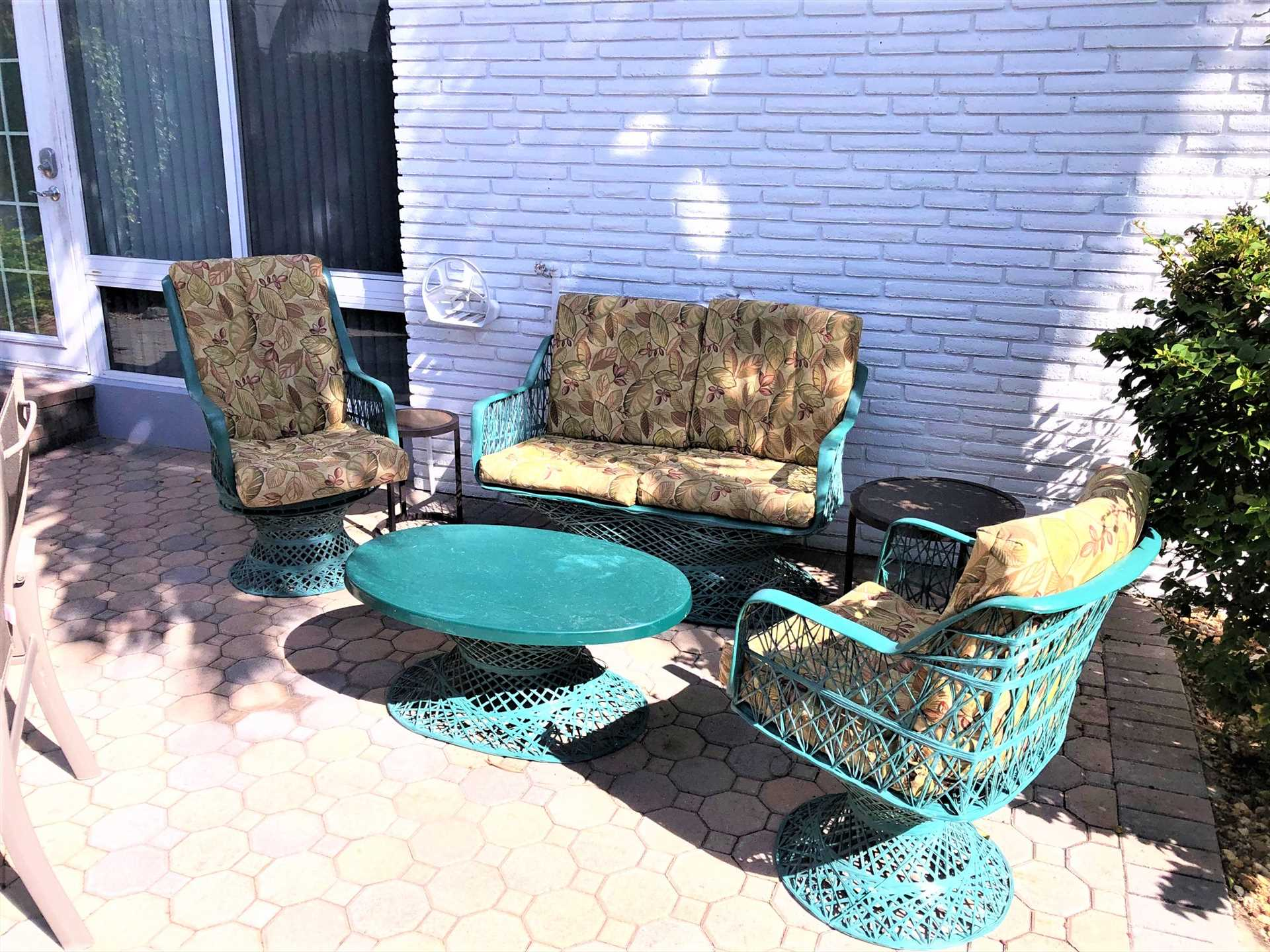 Front patio is great place to relax with friends.