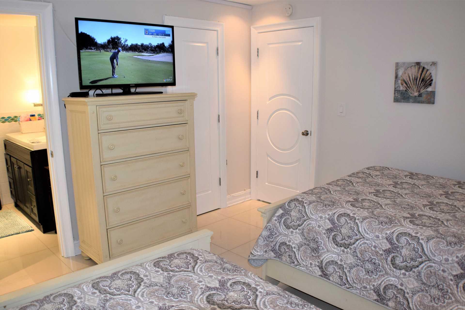 First floor bedroom has HDTV.