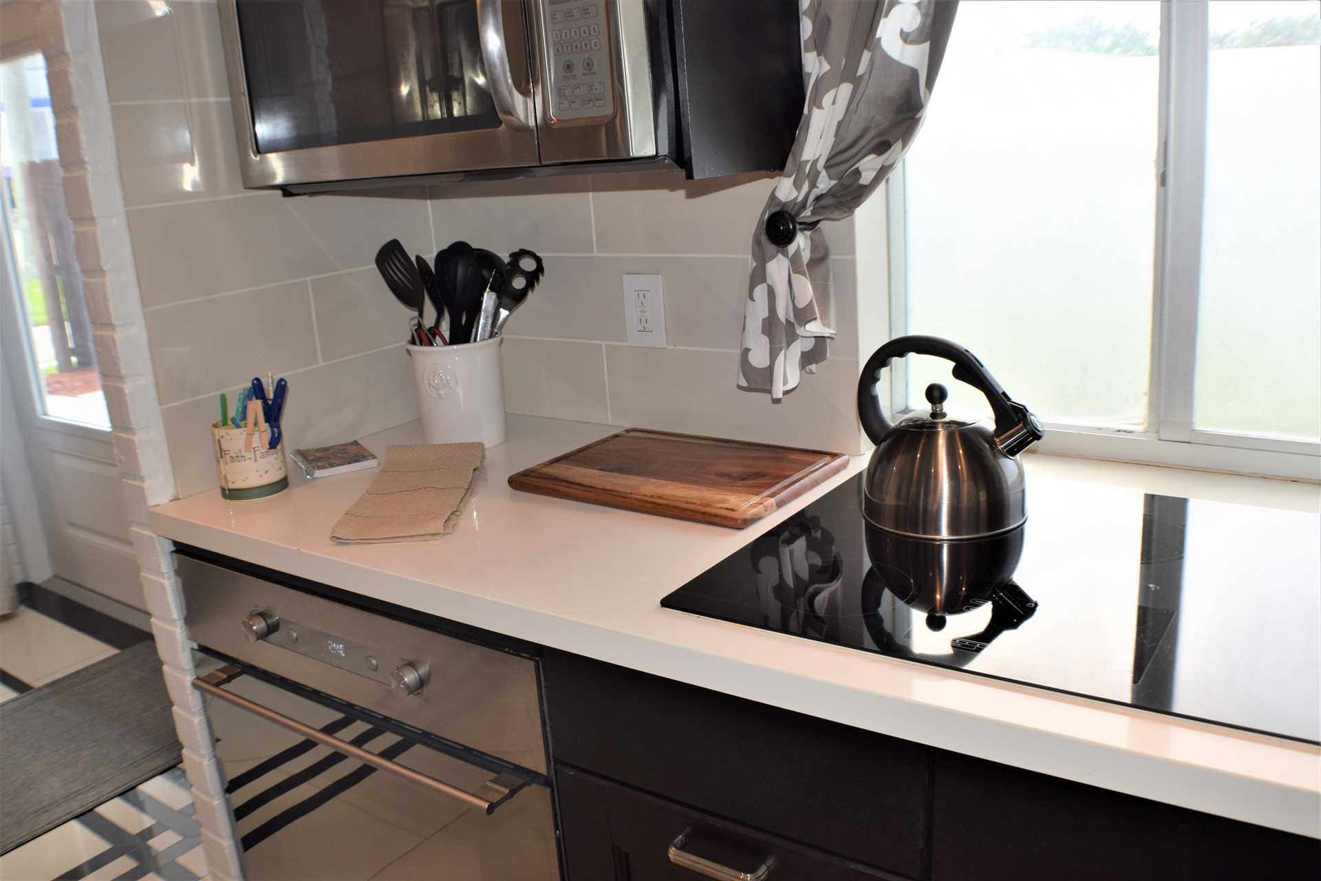 Plenty of counter space and above a microwave.