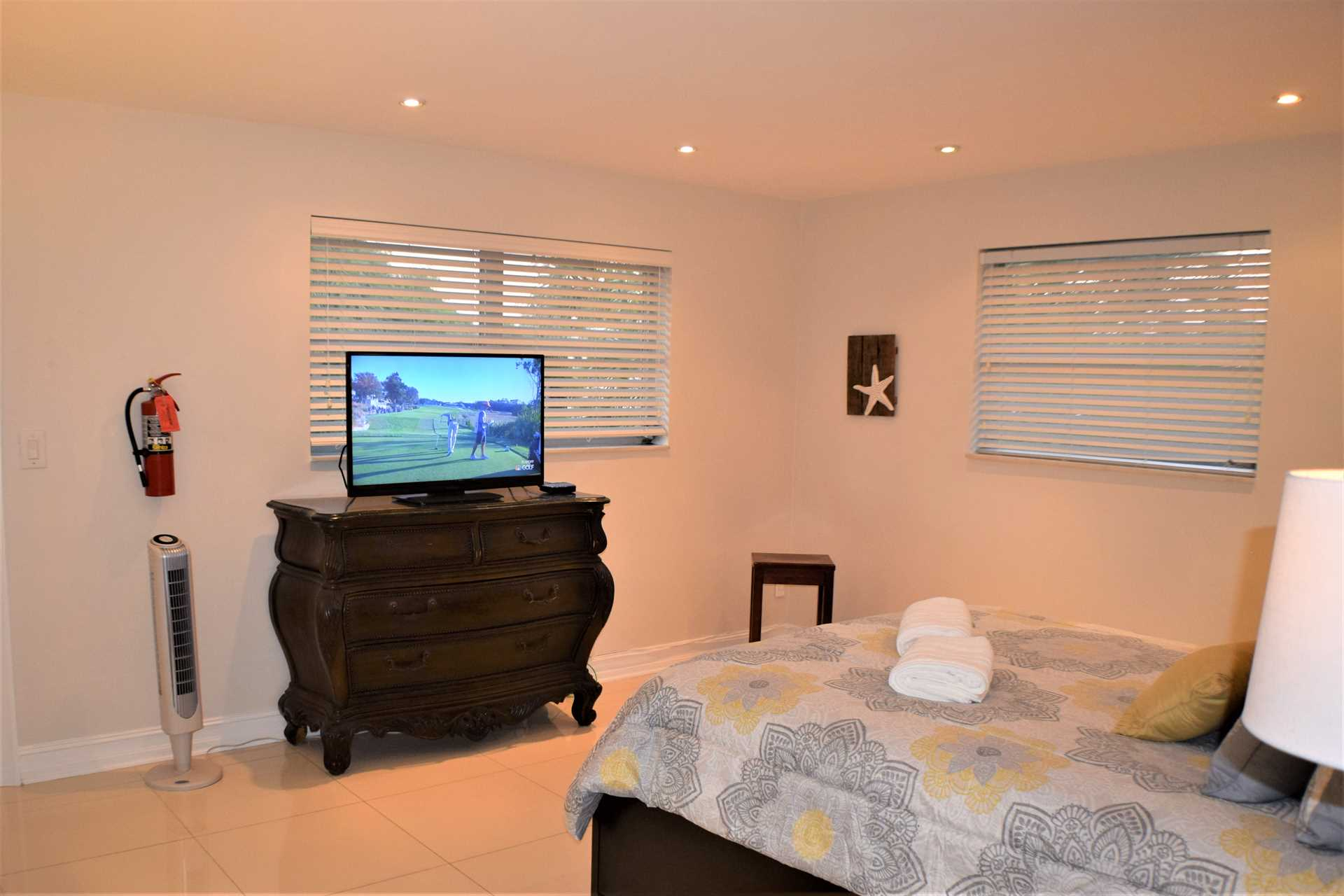 Master bedroom also has HDTV.