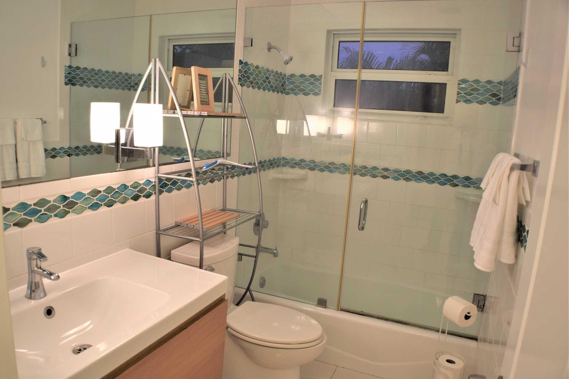 Second floor bath has walk in shower.