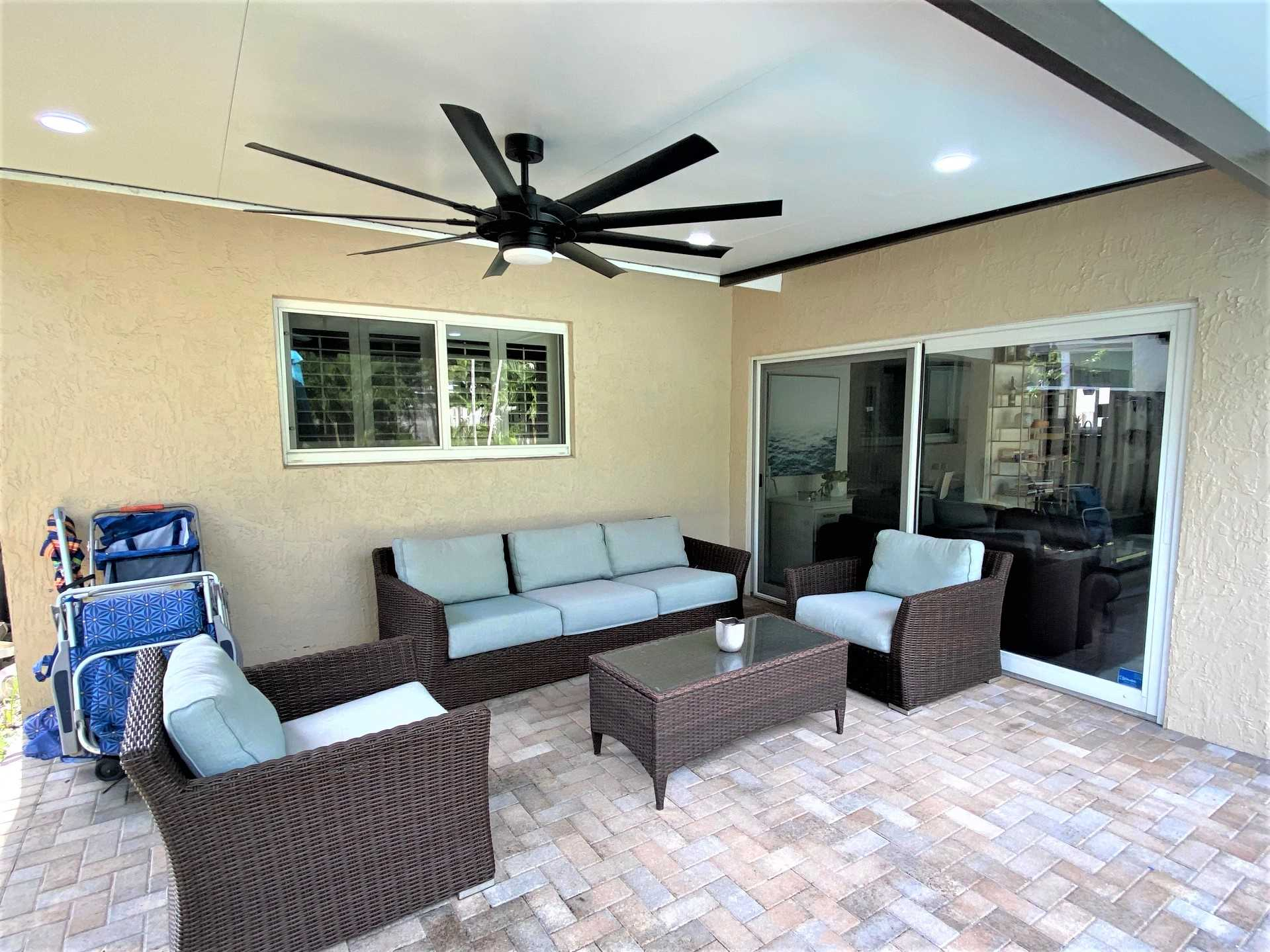 Relax in the covered patio area.