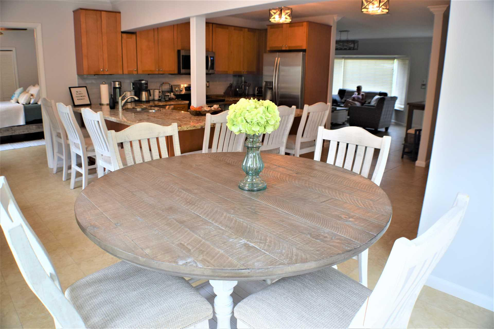 The circular dining table adds to the seating for inside din