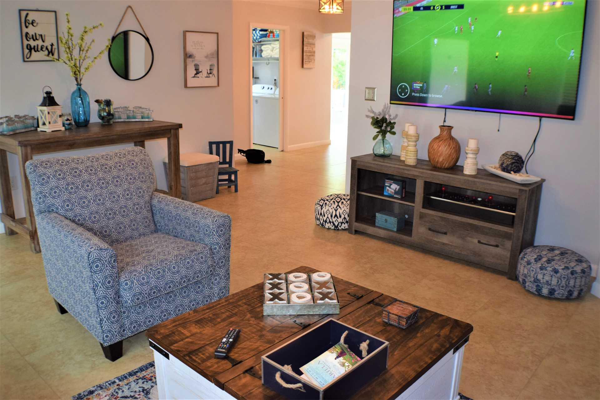 Enjoy the game in the comfortable living area
