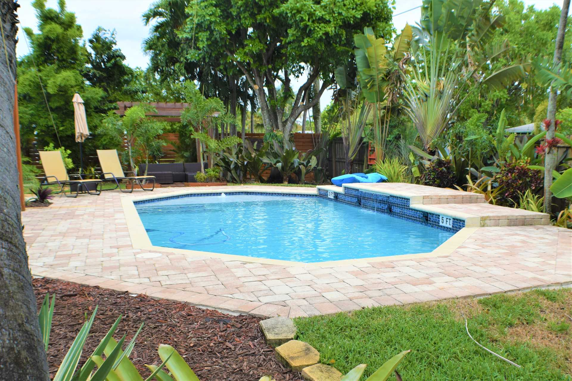 Landscaping in the pool area is breathtaking