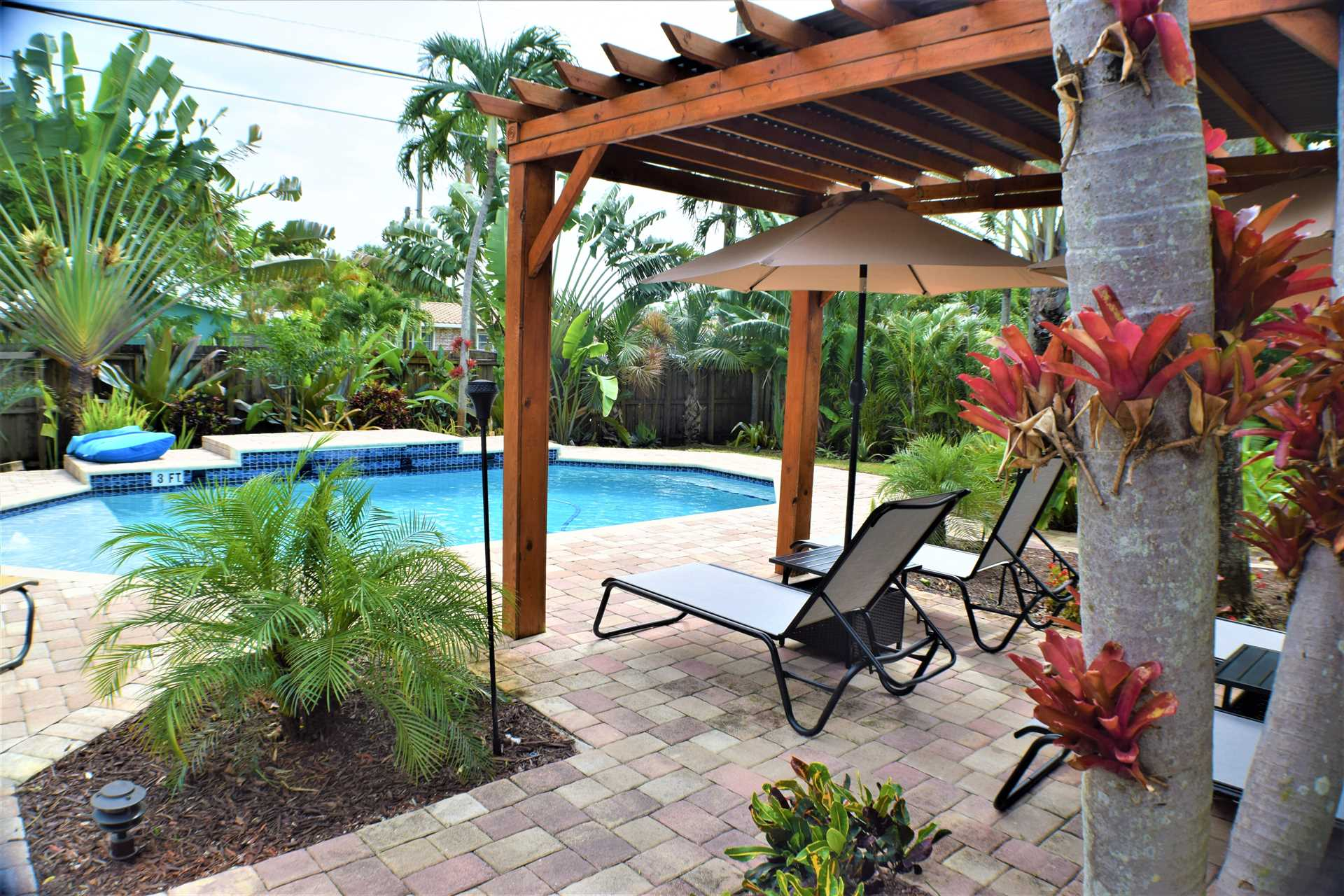 The pool area is a tropical paradise